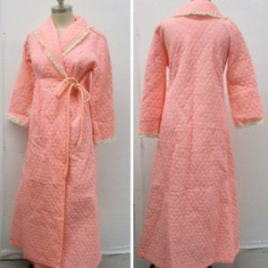 Vintage Quilted Robe Tie Front Size 16 Lace Pink
